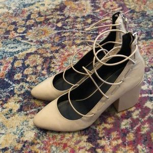 Rebecca minkoff nude wedge heels great condition
